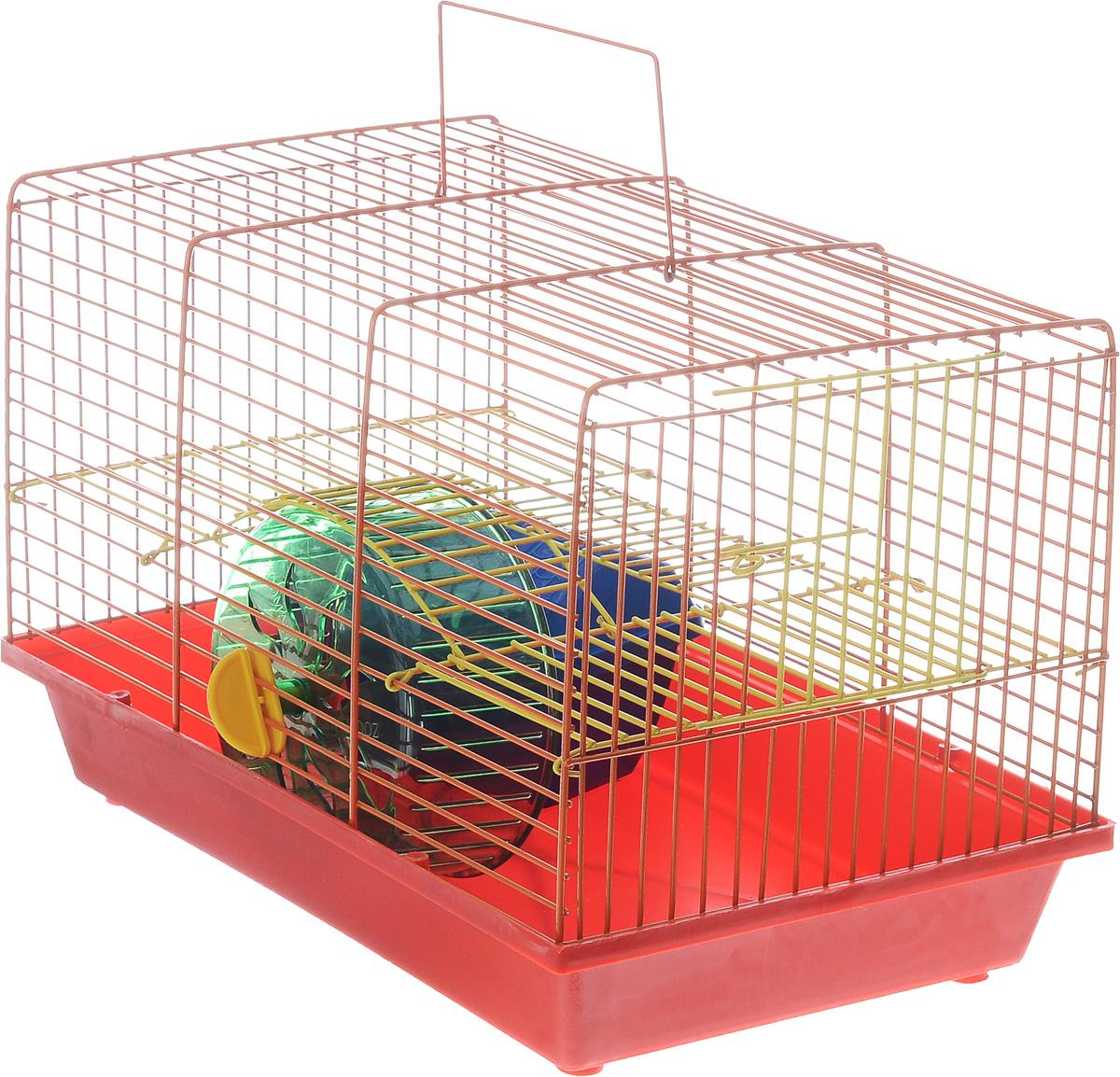 Клетка для грызунов Зоомарк Венеция, 2-этажная, цвет: красный поддон, оранжевая решетка, желтый этаж, 36 х 23 х 24 см145кКОКлетка Венеция, выполненная из полипропилена и металла, подходит для мелких грызунов. Изделие двухэтажное, оборудовано колесом для подвижных игр и пластиковым домиком. Клетка имеет яркий поддон, удобна в использовании и легко чистится. Сверху имеется ручка для переноски. Такая клетка станет уединенным личным пространством и уютным домиком для маленького грызуна.