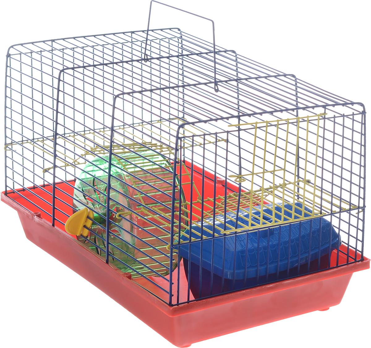 Клетка для грызунов Зоомарк Венеция, 2-этажная, цвет: красный поддон, синяя решетка, желтый этаж, 36 х 23 х 24 см145кКСКлетка Венеция, выполненная из полипропилена и металла, подходит для мелких грызунов. Изделие двухэтажное, оборудовано колесом для подвижных игр и пластиковым домиком. Клетка имеет яркий поддон, удобна в использовании и легко чистится. Сверху имеется ручка для переноски. Такая клетка станет уединенным личным пространством и уютным домиком для маленького грызуна.