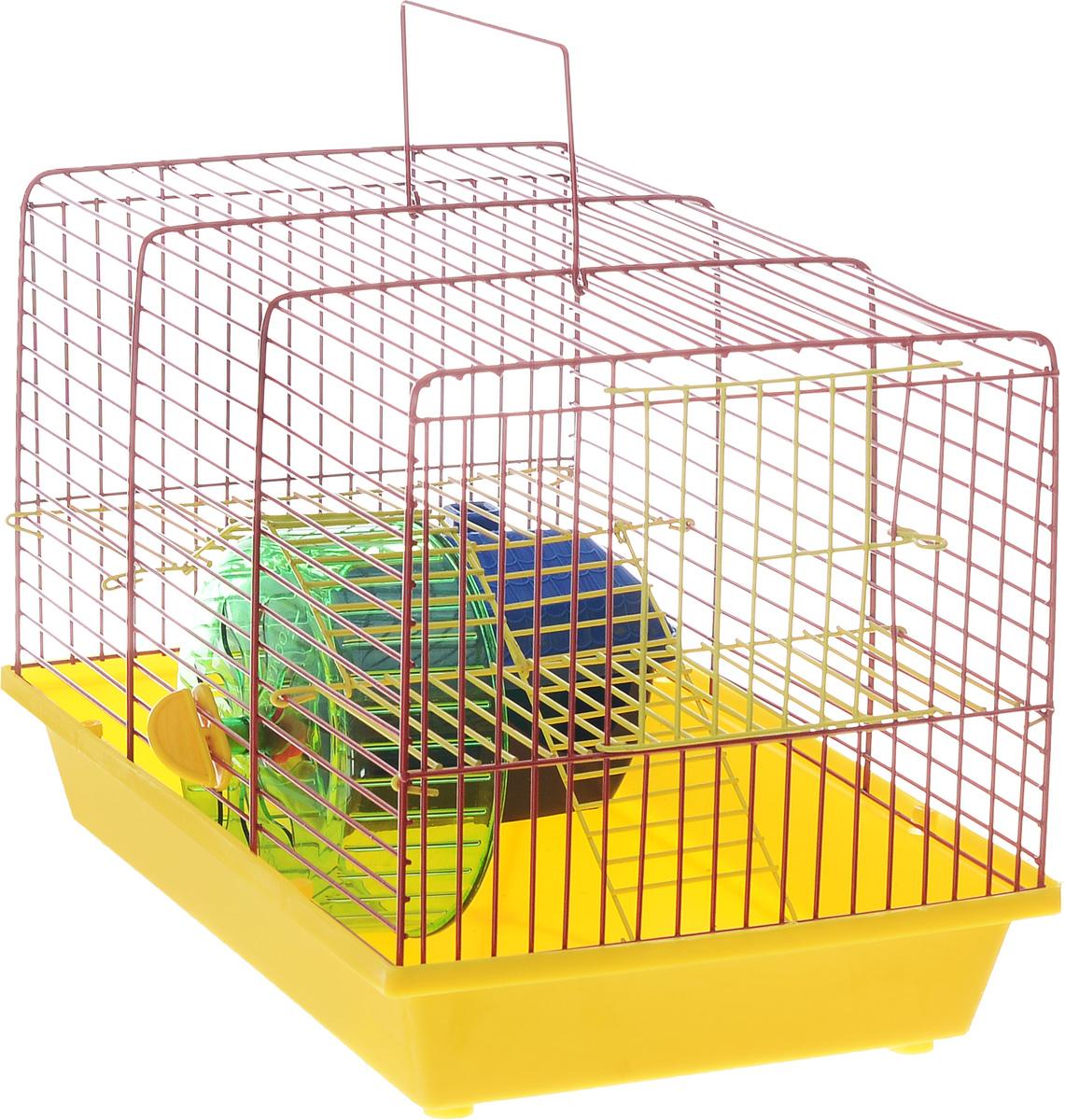 Клетка для грызунов Зоомарк  Венеция , 2-этажная, цвет: желтый поддон, красная решетка, 36 х 23 х 24 см - Клетки, вольеры, будки