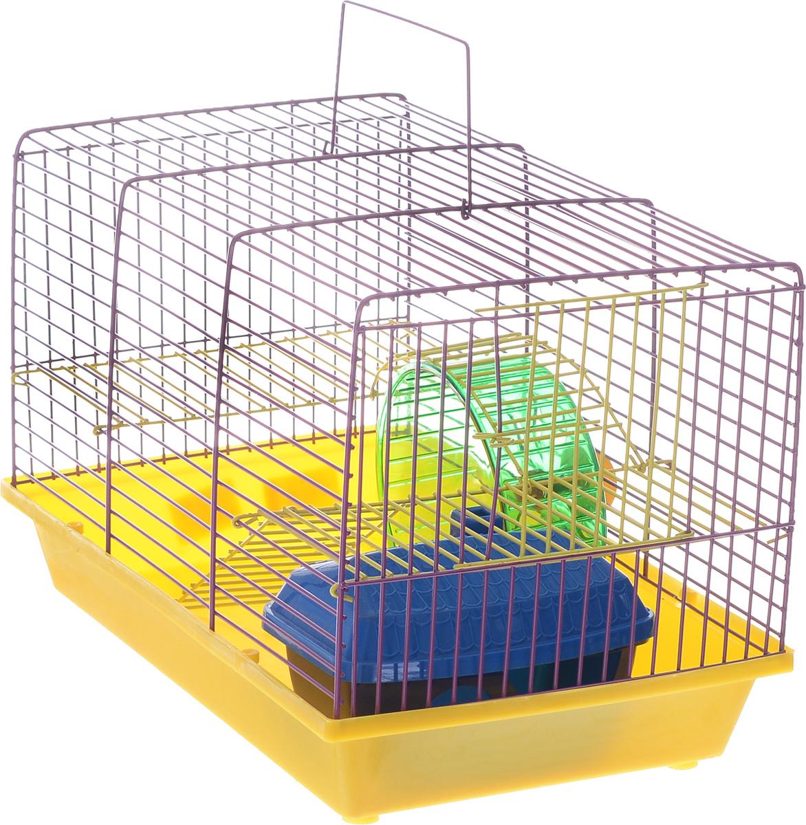 Клетка для грызунов Зоомарк  Венеция , 2-этажная, цвет: желтый поддон, фиолетовая решетка, 36 х 23 х 24 см - Клетки, вольеры, будки