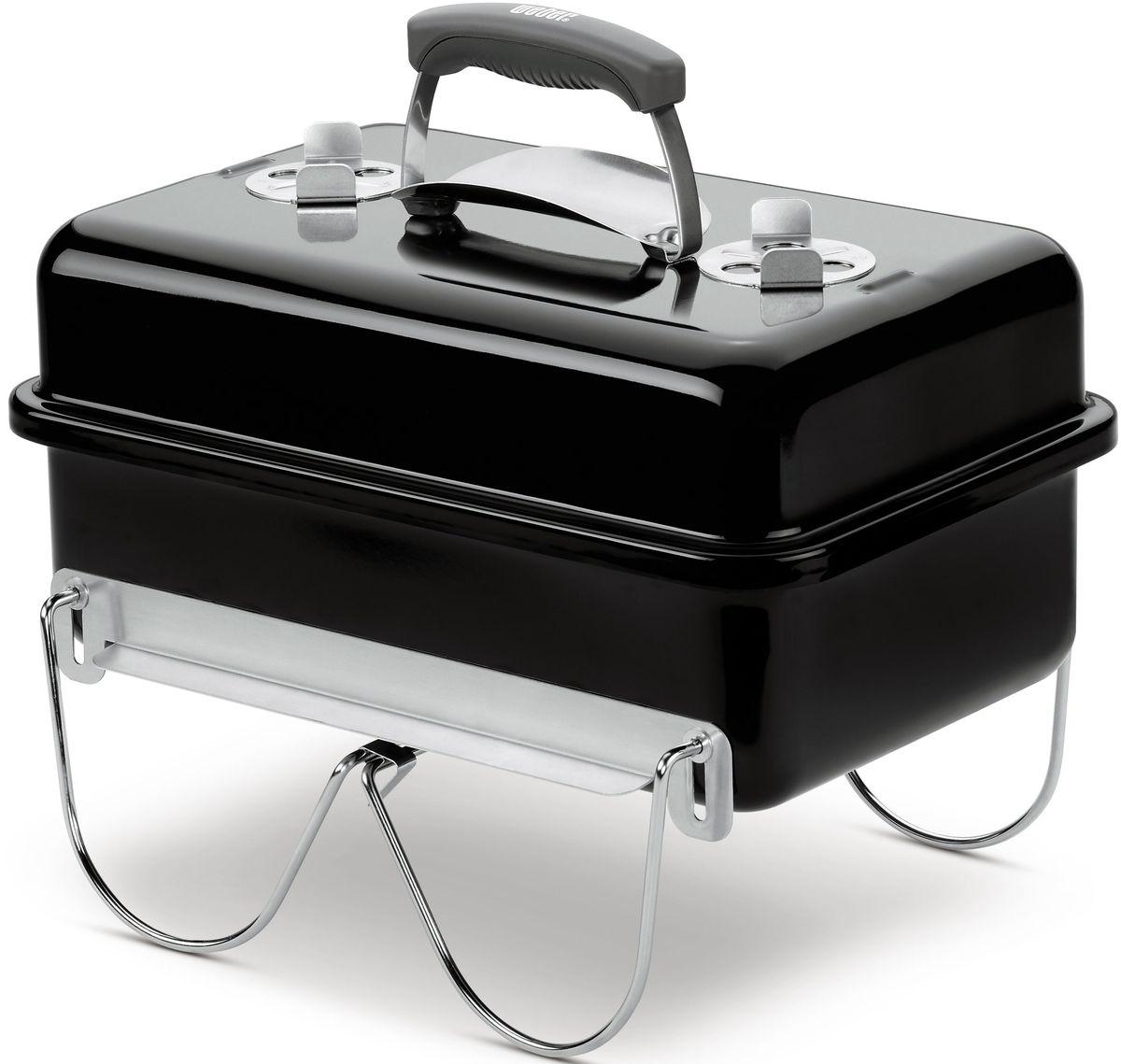 """Переносной угольный гриль Weber """"Go-Anywhere"""" удобен для использования на пикнике, выездной вечеринке или в туристическом походе. Портативный прибор обладает малым весом и компактными габаритами. Он предназначен для жарки мяса на углях. Оптимальная температура внутри устройства регулируется тремя воздушными заслонками. В состав мини-гриля входят котел, крышка с оснащенной жароотсекателем ручкой, хромированная и стальная решетки. Прямоугольный компактный корпус выполнен из высококачественной стали, изнутри и снаружи покрыт жаропрочной фарфоровой эмалью. Удобные ручки для переноски выполнены из армированного стекловолокном нейлона, на крышке присутствуют алюминиевые вентиляционные заслонки. Откидные ножки повышают устойчивость настольного прибора, при транспортировке они складываются и фиксируют крышку. Крышка и котел, изготовлены из жаропрочной стали, покрытые фарфоровой эмалью изнутри и снаружи. Гриль можно оставлять на улице в любую погоду.  Особенности: Хромированная решетка для гриля из жаропрочной стали. Откидные ножки обеспечивают устойчивость. В убранном положении уменьшают габариты гриля и фиксируют крышку для удобства транспортировки. Ручка из нейлона армированного стекловолокном. Жароотсекатель на ручке крышки. Крюк, расположенный внутри крышки, позволяет при необходимости подвесить ее на стенку котла. Две алюминиевые вентиляционные заслонки на крышке. Две алюминиевые вентиляционные заслонки на боковой поверхности гриля. Такое расположение вентиляционных отверстий исключает опасность пожара от искр и выпавших углей. Размеры в собранном виде: 43 х 31 х 47 смРазмеры решетки: 40,5 х 25,5 смВес: 5 кг."""