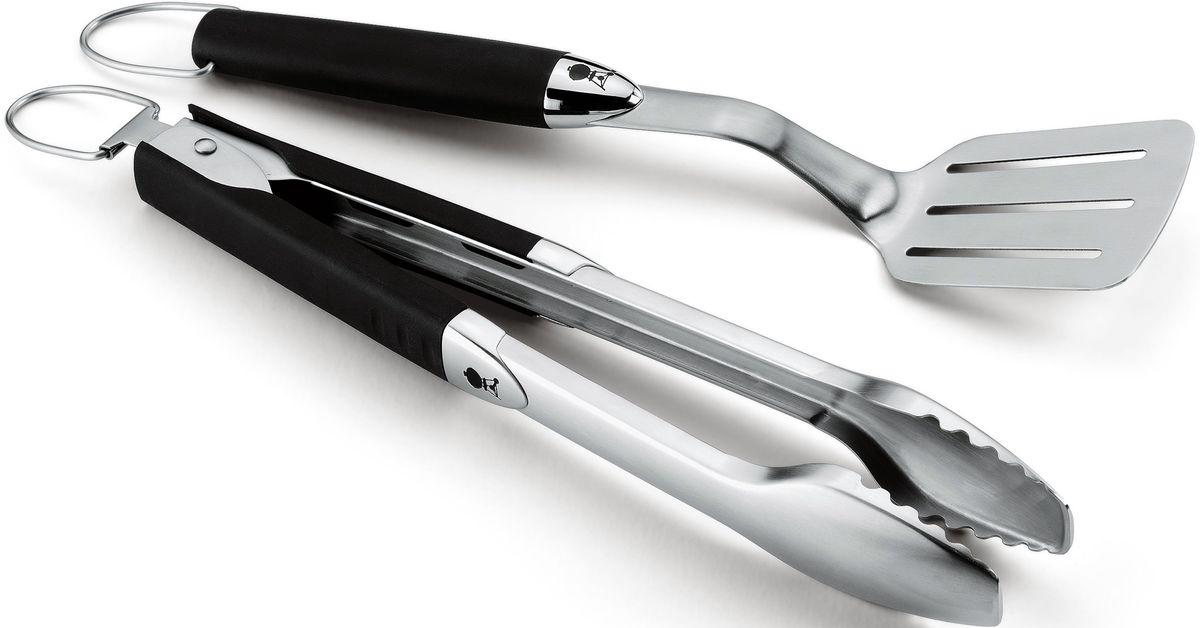Набор инструментов для гриля Weber, портативный, 2 предмета6645Практичный набор инструментов Weber - щипцы и лопатка - для удобного переворачивания продуктов. Оба предмета небольшого размера, из высококачественной стали, с ручками из пластикаХАРАКТЕРИСТИКИРазмерыДлина: 35,6 см, 38,1 смШирина: 8,4 см, 7,7 смВысота: 3,1 см, 4,1 см