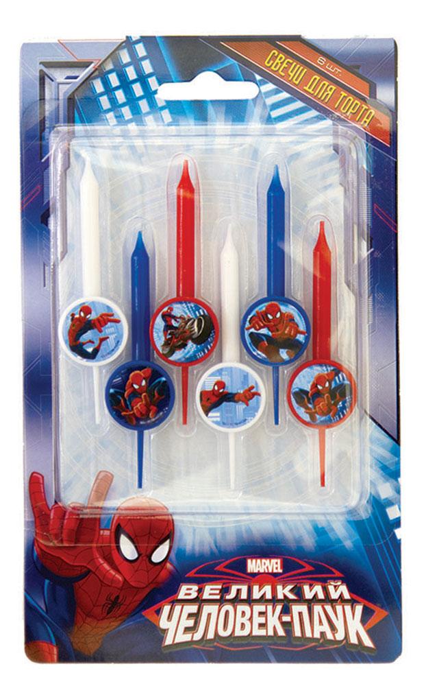 Веселая затея Свеча для торта Человек-паук 6 шт