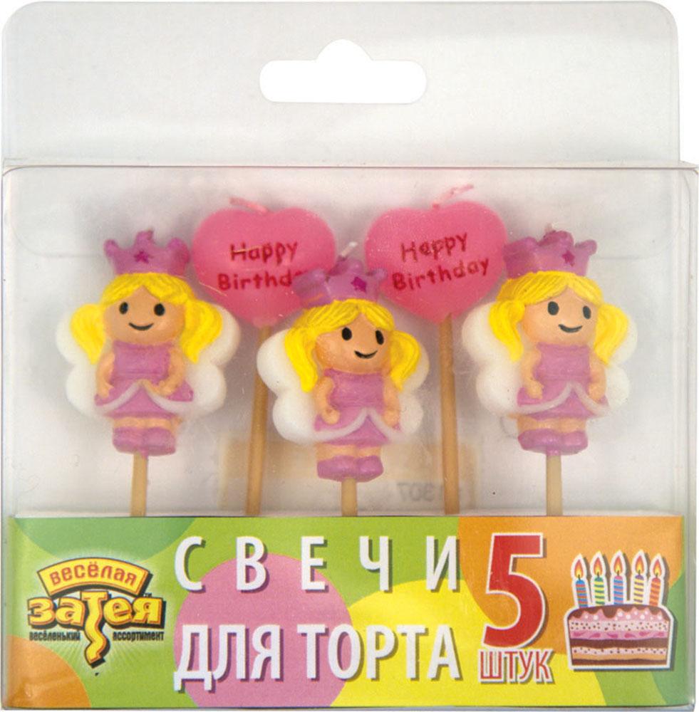 Веселая затея Свеча для торта Принцесса 5 шт