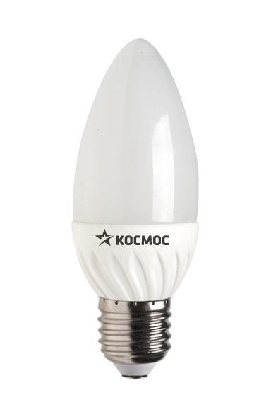 Светодиодная лампа Kosmos, теплый свет, цоколь E27, 5W, 220V. Lksm_LED5wCNE2730Lksm_LED5wCNE2730Светодиодная передовая лампа КОСМОС LED CN 5Вт 220В E27 3000K (Lksm LED5wCNE2730) способствует экономии электроэнергии до 90%. Лампа исполнена в форме свечи с белой колбой. Излучает световой поток в 400 Люмен. Обладает пониженной теплопроизводительностью. Эксплуатационный ресурс составляет 30 тысяч часов. Заменяет 60-Ваттную лампу накаливания.Уважаемые клиенты! Обращаем ваше внимание на возможные изменения в дизайне упаковки. Качественные характеристики товара остаются неизменными. Поставка осуществляется в зависимости от наличия на складе.