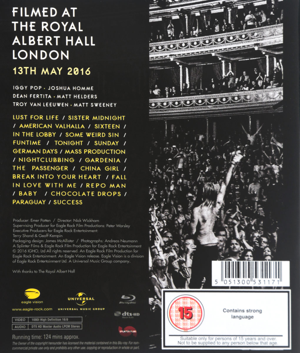 Iggy Pop:  Post Pop Depression:  Live At The Royal Albert Hall (Blu-ray) Eagle Vision
