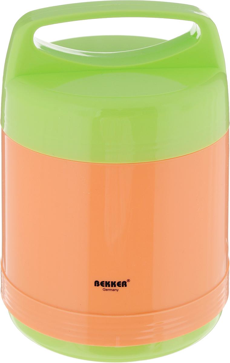 Термос Bekker Koch, с контейнерами, цвет: оранжевый, салатовый, 1 л контейнер пищевой вакуумный bekker koch прямоугольный 1 1 л