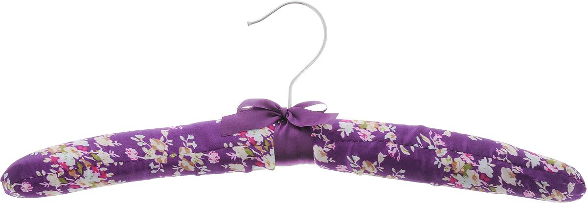 Вешалка для одежды HomeQueen, сатиновая, цвет: фиолетовый, белый, зеленый, длина 39 см70677Вешалка для одежды HomeQueen изготовлена из дерева и обтянута сатиновой тканью, снабжена закругленными плечиками и поворачивающимся металлическим крючком. Вешалка - незаменимая вещь для аккуратного хранения одежды. Размер вешалки: 39 х 3 х 14 см.