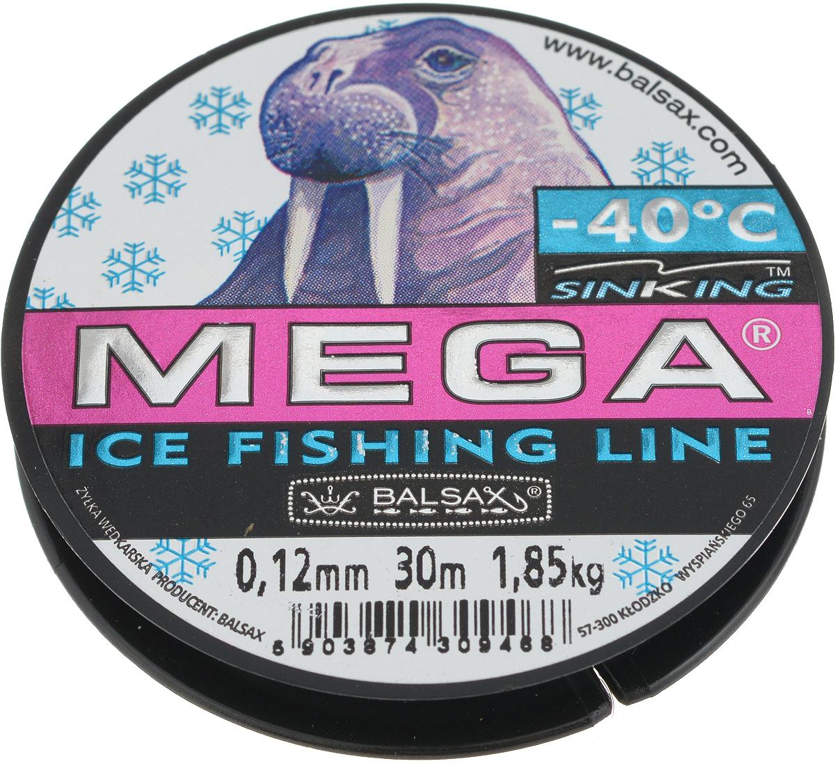 Леска зимняя Balsax Mega, 30 м, 0,12 мм, 1,85 кг леска зимняя balsax aurora 30 м 0 10 мм 1 4 кг