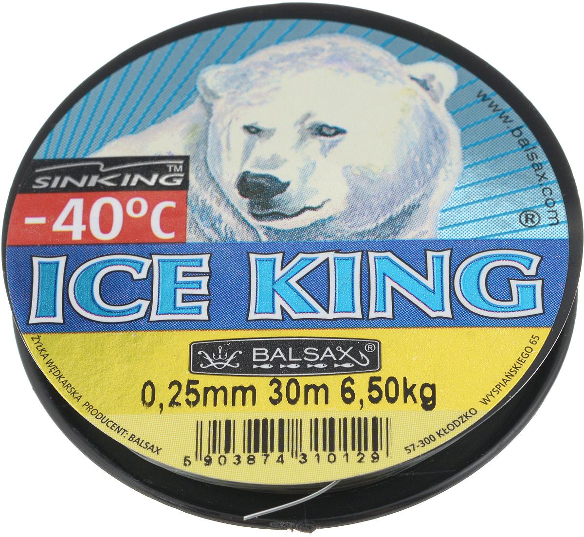 Леска зимняя Balsax Ice King, 30 м, 0,25 мм, 6,5 кг310-08025Леска Balsax Ice King изготовлена из 100% нейлона и очень хорошо выдерживает низкие температуры. Даже в самом холодном климате, при температуре вплоть до -40°C, она сохраняет свои свойства практически без изменений, в то время как традиционные лески становятся менее эластичными и теряют прочность.Поверхность лески обработана таким образом, что она не обмерзает и отлично подходит для подледного лова. Прочна в местах вязки узлов даже при минимальном диаметре.