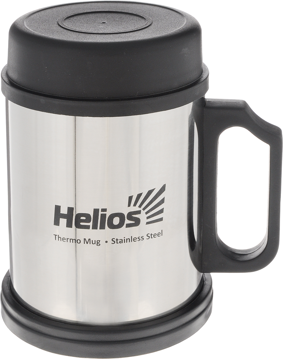 Термокружка HeliosHS TK-004,с крышкой и подставкой,400 мл128981Термокружка Helios HS TK-004 предназначена специально для горячих и холодных напитков. Она изготовлена из высококачественной нержавеющей стали. Двойная стенка гарантирует долгое сохранение температуры и убережет от ожогов при заваривании чая или кофе. Крышка из термостойкого пластика предохраняет от проливания и не дает напитку остыть, а подставка защищает поверхность от воздействия высоких температур. Такая кружка прекрасно сохраняет свою целостность и первозданный вид даже при многократном использовании. Диаметр кружки (по верхнему краю): 7,9 см. Высота кружки (без учета крышки и подставки): 10 см.Высота кружки (с учетом крышки и подставки): 12,5 см.
