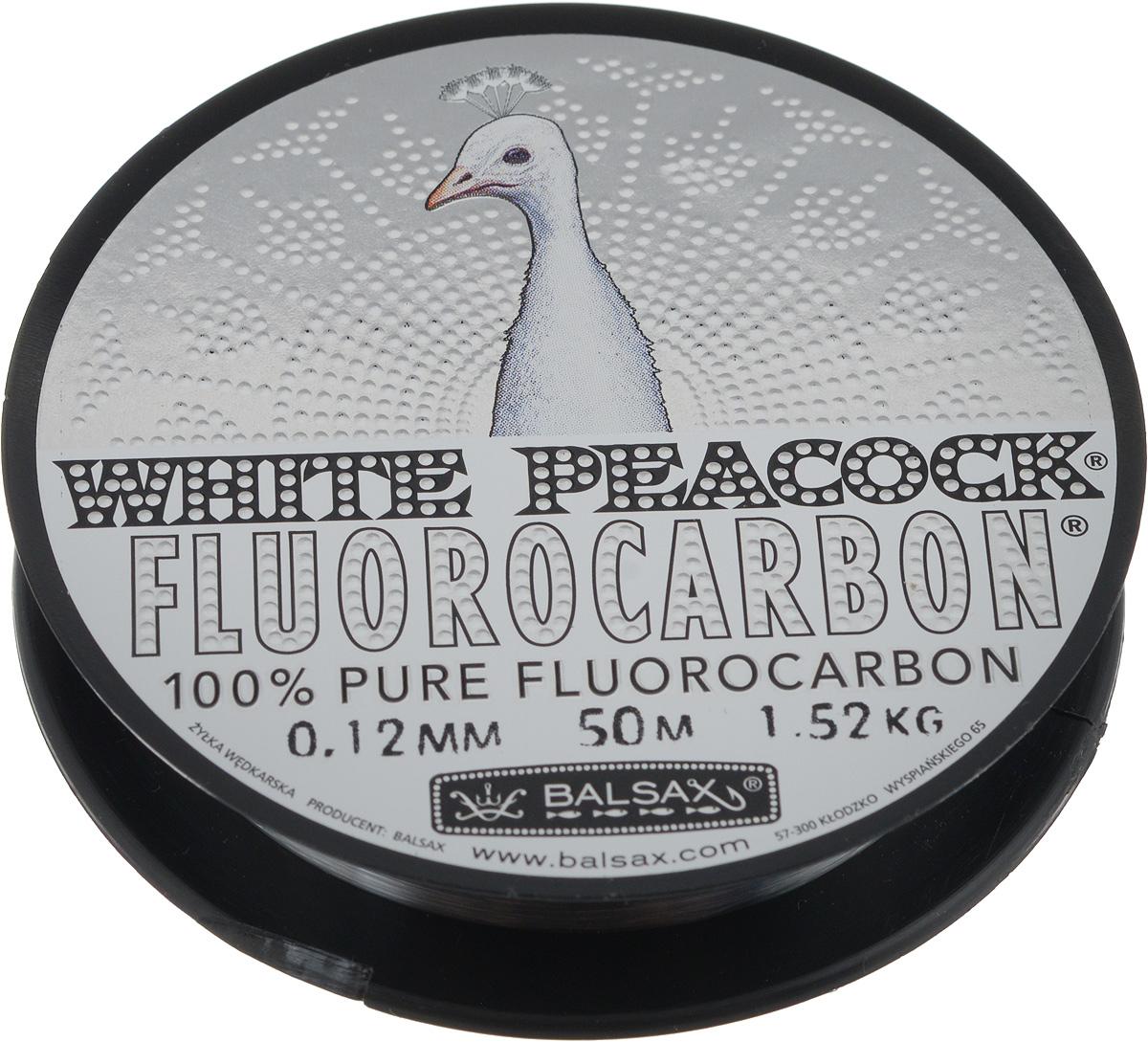 Леска флюорокарбоновая Balsax White Peacock, 50 м, 0,12 мм, 1,52 кг314-09012Флюорокарбоновая леска Balsax White Peacock становится абсолютно невидимой в воде. Обычные лески отражают световые лучи, поэтому рыбы их обнаруживают. Флюорокарбон имеет приближенный к воде коэффициент преломления, поэтому пропускает сквозь себя свет, не давая отражений. Рыбы не видят флюорокарбон. Многие рыболовы во всем мире используют подобные лески в качестве поводковых, благодаря чему получают более лучшие результаты.Флюорокарбон на 50% тяжелее обычных лесок и на 78% тяжелее воды. Понятно, почему этот материал используется для рыболовных лесок, он тонет очень быстро. Флюорокарбон не впитывает воду даже через 100 часов нахождения в ней. Обычные лески впитывают до 10% воды в течение 24 часов, что приводит к потере 5 - 10% прочности. Сопротивляемость флюорокарбона к истиранию значительно больше, чем у обычных лесок. Он выдерживает температуры от -40°C до +160°C.