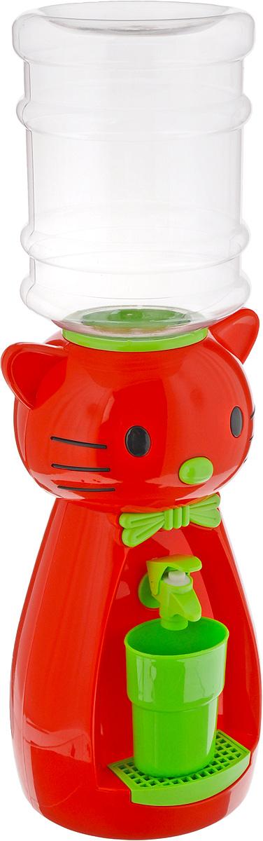 Мини-кулер для воды и сока HITT Мультик. Китти, цвет: красный, зеленый, 2 лН25200_красный, зеленыйДетский мини-кулер HITT Мультик. Китти выполнен из экологически чистого пластика. Изделие не греет и не охлаждает воду, поэтому вы можете не беспокоиться, что ребенок обожжется или простудит горло. Соки, компоты, отвары трав в этом кулере будут для малыша более привлекательны, чем лимонад и другие вредные для организма напитки. Кроха с удовольствием будет наливать напиток из кулера в небольшой стаканчик совсем как взрослый. Изделие легкое и компактное, поэтому его можно взять с собой на дачу или на пикник. Яркий дизайн, сочные цвета и веселый персонаж сделают такой кулер украшением стола на детском празднике.Ребенок станет потреблять больше жидкости. Вам не придется уговаривать его выпить молоко или компот.Стакан входит в комплект.Высота мини-кулера (с учетом бутылки): 49 см. Размер стаканчика: 6,5 х 5 х 8,5 см. Высота бутылки: 18 см.