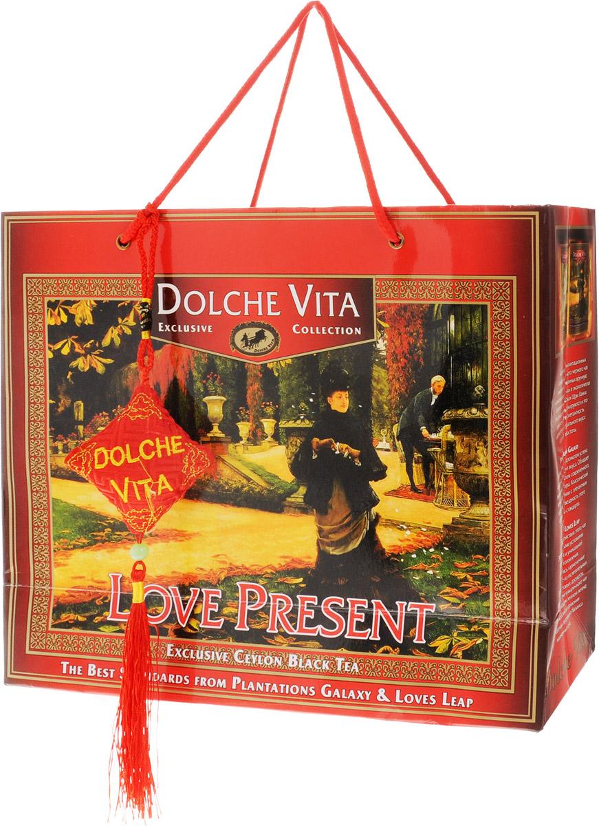 Dolche Vita Love Present подарочный набор черного листового чая, 200 г21202Подарочный набор плантационного цейлонского черного крупнолистового чая Dolche Vita Love Present, упакованный в подарочную коробку и пакет.