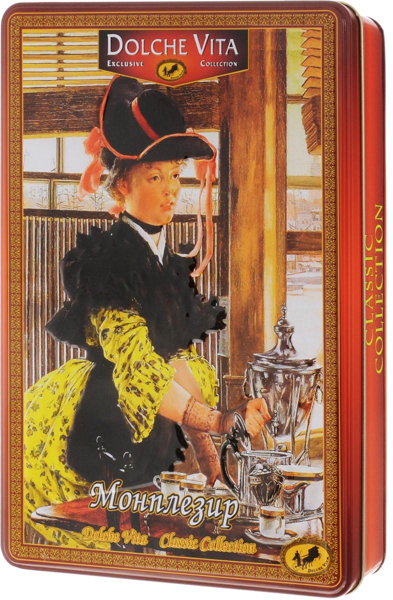 Dolche Vita Монплезир ассорти чайное, 285 г20206Еще чуть-чуть и зазвенят бокалы с шампанским. Куранты бьют 12 раз. Вокруг запах ели, мандаринов. Все загадывают желания и радуются Новому Году.В этот прекрасный, светлый, радостный праздник так приятно выпить чашечку хорошего чая, который согреет холодной снежной зимой.Чайное ассорти Dolche Vita Монплезир непременно порадует вас своими изысканными вкусами и ароматами.Уважаемые клиенты! Обращаем ваше внимание, что полный перечень состава продукта представлен на дополнительном изображении.
