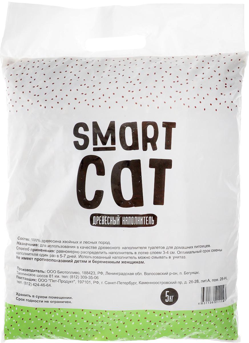 Наполнитель для кошачьих туалетов Smart Cat, древесный, 5 кг