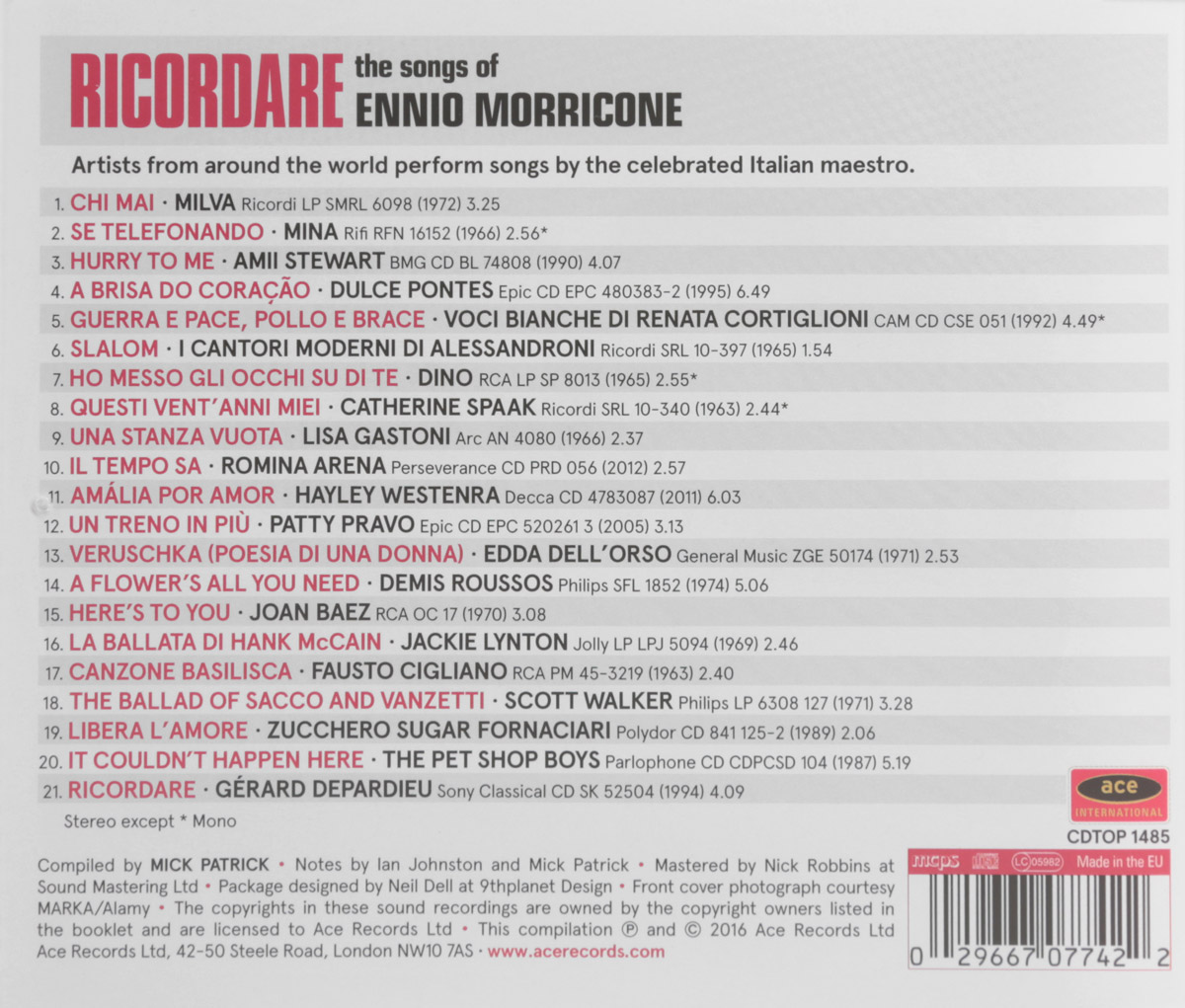Ricordare.  The Songs Of Ennio Morricone Ace Records