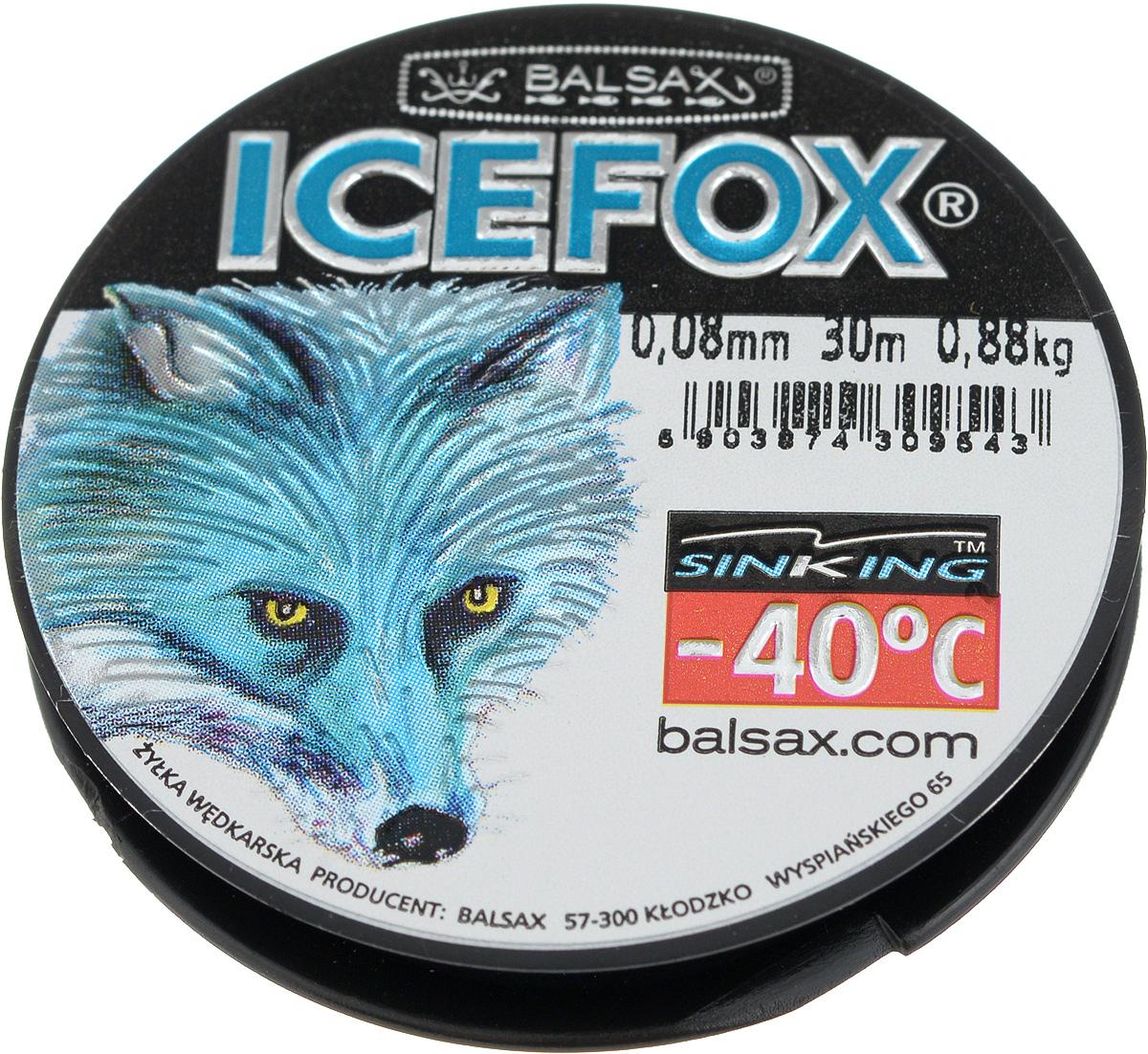 Леска зимняя Balsax Ice Fox, 30 м, 0,08 мм, 0,88 кг310-07008Леска Balsax Ice Fox изготовлена из 100% нейлона и очень хорошо выдерживает низкие температуры. Даже в самом холодном климате, при температуре вплоть до -40°C, она сохраняет свои свойства практически без изменений, в то время как традиционные лески становятся менее эластичными и теряют прочность.Поверхность лески обработана таким образом, что она не обмерзает и отлично подходит для подледного лова. Прочна в местах вязки узлов даже при минимальном диаметре.