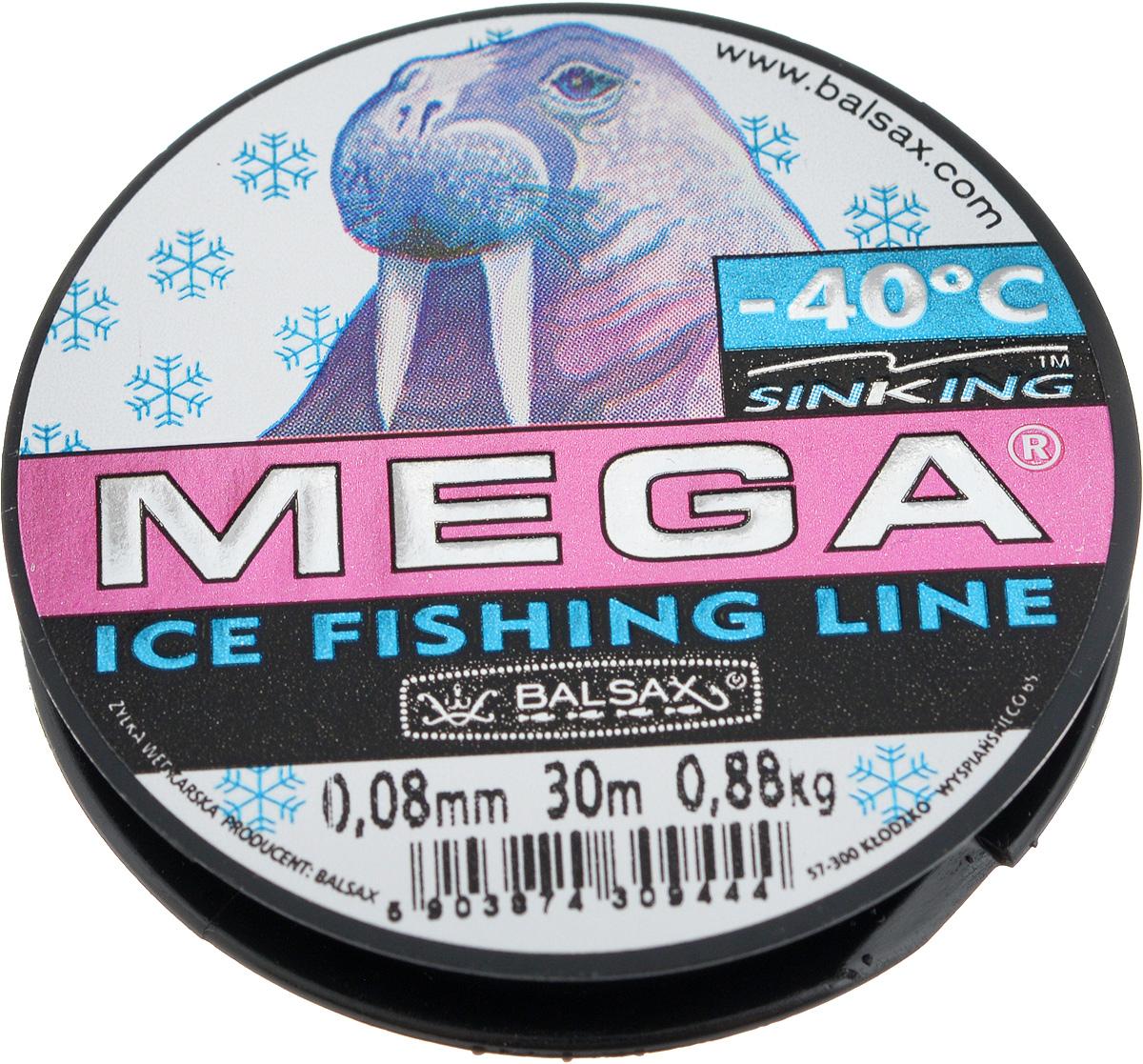 Леска зимняя Balsax Mega, 30 м, 0,08 мм, 0,88 кг леска balsax mega winter