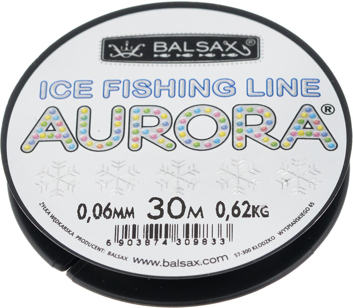 Леска зимняя Balsax Aurora, 30 м, 0,06 мм, 0,62 кг310-04006Леска Balsax Aurora изготовлена из 100% нейлона и очень хорошо выдерживает низкие температуры. Даже в самом холодном климате, при температуре вплоть до -40°C, она сохраняет свои свойства практически без изменений, в то время как традиционные лески становятся менее эластичными и теряют прочность.Поверхность лески обработана таким образом, что она не обмерзает и отлично подходит для подледного лова. Прочна в местах вязки узлов даже при минимальном диаметре.
