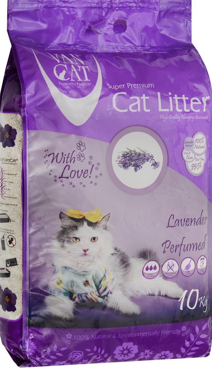Наполнитель для кошачьих туалетов Van Cat, комкующийся, с ароматом лаванды, 10 кг наполнитель для кошачьих туалетов sepicat fresh комкующийся облегченный классический 10 л