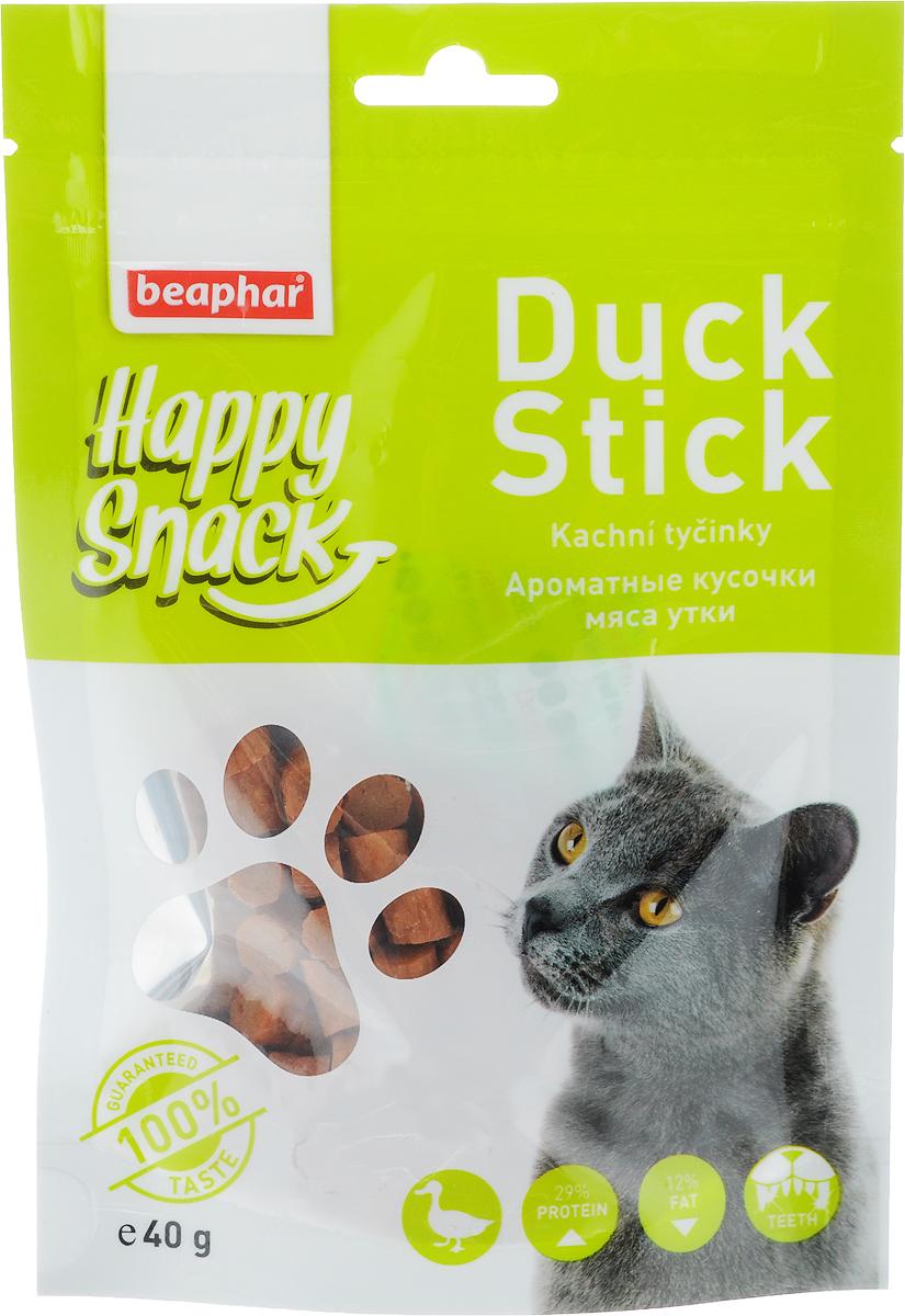 Лакомство для кошек Beaphar Happy Snack, ароматные кусочки мяса утки, 40 г акция лакомство для кошек мнямс в промо упаковке 3 по цене 2