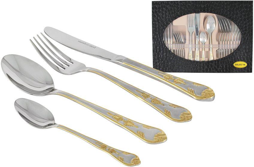 Набор столовых приборов Selecta Кёльн, цвет: серебристый, золотистый, 24 предметаSG-A826G/24-ALНабор Selecta, выполненный из высококачественной нержавеющей стали, состоит из 24 предметов: 6 столовых ножей, 6 столовых ложек, 6 столовых вилок и 6 чайных ложек.Мастера предприятия разрабатывают современные дизайны, используя различные технологии обработки от зеркальной полировки и матирования до сатинового покрытия и покрытия 24-х каратным золотом.Набор прекрасно подойдет для сервировки стола, как дома, так и на даче и всегда будет важной частью трапезы, а также станет замечательным подарком.Мыть теплой водой с применением жидких моющих средств и в посудомоечной машине. Не использовать абразивные материалы. Размер упаковки: 38 х 28 х 6.