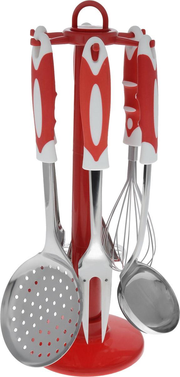 """Набор """"Bekker"""" состоит из пресса для картофеля,  кулинарной ложки, вилки, половника, шумовки и венчика.   Предметы набора хранятся на пластиковой подставке.  Ручки изделий, выполненные из пластика с резиновыми вставками, оснащены отверстием для  подвешивания на  крючок. Рабочие поверхности предметов набора  изготовлены из высококачественной нержавеющей стали.  Изделия из нержавеющей стали исключительно прочны,  гигиеничны, не подвержены коррозии и химически  устойчивы по отношению к органическим кислотам,  солям и щелочам.  Данный набор придаст вашей кухне элегантность,  подчеркнет индивидуальный дизайн и превратит  приготовление еды в настоящее удовольствие. Предметы набора можно мыть в посудомоечной машине.  Размер подставки: 13 х 13 х 37,5 см. Длина половника: 30 см. Размер рабочей поверхности половника: 9 х 7,5 см. Длина шумовки: 33 см. Размер рабочей поверхности шумовки: 11,5 х 11 см.  Длина кулинарной ложки: 31 см. Размер рабочей поверхности кулинарной ложки: 10 х 7  см. Длина вилки: 31,5 см. Размер рабочей поверхности вилки: 9 х 3,5 см. Длина пресса для картофеля: 26,5 см. Размер рабочей поверхности пресса для картофеля: 8 х  7,5 см. Длина венчика: 26,5 см. Размер рабочей поверхности венчика: 5,5 х 5,5 х 11 см."""