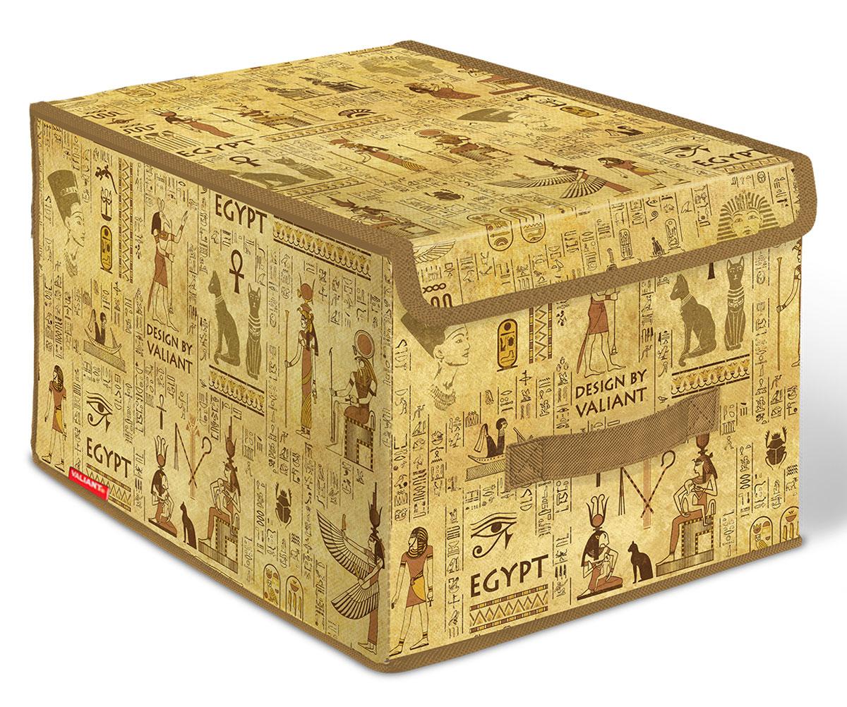 Короб стеллажный Valiant Egypt, с крышкой, 30 х 40 х 25 смEG-BOX-LMСтеллажный короб Valiant Egypt изготовлен из высококачественного нетканого материала, который обеспечивает естественную вентиляцию, позволяя воздуху проникать внутрь, но не пропускает пыль. Вставки из плотного картона хорошо держат форму. Короб снабжен специальной крышкой, которая фиксируется с помощью двух магнитов. Изделие отличается мобильностью: легко раскладывается и складывается. В таком коробе удобно хранить одежду, белье и мелкие аксессуары. Системы хранения в едином дизайне сделают вашу гардеробную изысканной и невероятно стильной.