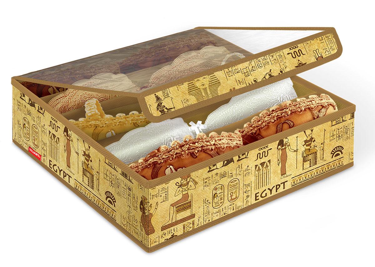 """Органайзер Valiant """"Egypt"""" выполнен из высококачественного нетканого материала,  который обеспечивает естественную вентиляцию, позволяя воздуху проникать  внутрь, но не пропускает пыль. Вставки из плотного картона хорошо держат форму.  Изделие содержит 5 секций, предназначенных для хранения бюстгальтеров.  Органайзер легко раскладывается и складывается. Изделие оснащено прозрачной  крышкой из ПВХ, которая позволяет видеть содержимое органайзера.  Система хранения Valiant """"Egypt"""" создаст трогательную атмосферу романтического  настроения. Оригинальный дизайн придется по вкусу ценительницам эстетичного  хранения."""