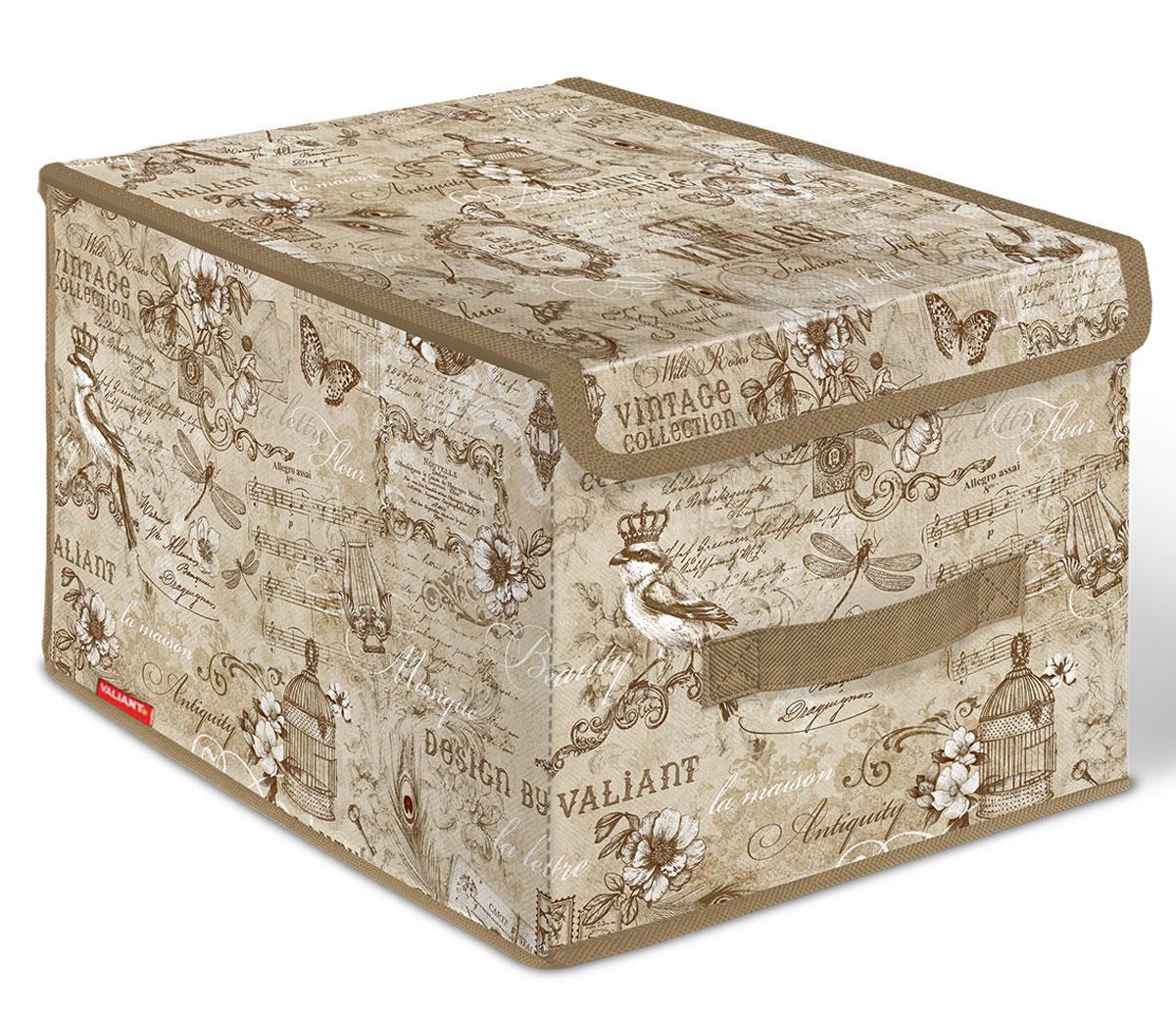 Короб стеллажный Valiant Vintage, с крышкой, 30 x 40 x 25 смVN-BOX-LMСтеллажный короб Valiant Vintage изготовлен из высококачественного нетканого материала, который обеспечивает естественную вентиляцию, позволяя воздуху проникать внутрь, но не пропускает пыль. Вставки из плотного картона хорошо держат форму. Короб снабжен специальной крышкой, которая фиксируется с помощью двух магнитов. Изделие отличается мобильностью: легко раскладывается и складывается. В таком коробе удобно хранить одежду, белье и мелкие аксессуары.Системы хранения в едином дизайне сделают вашу гардеробную изысканной и невероятно стильной.