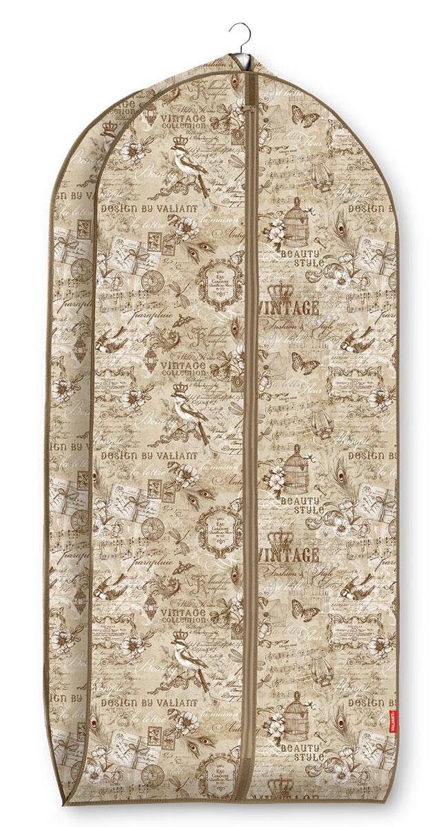 """Чехол для одежды Valiant """"Vintage"""" изготовлен из высококачественного нетканого материала (спанбонда), который обеспечивает естественную вентиляцию, позволяя воздуху проникать внутрь, но не пропускает пыль. Чехол очень удобен в использовании. Наличие боковой вставки увеличивает объем чехла, что позволяет хранить крупные объемные вещи. Чехол закрывается на застежку-молнию. Идеально подойдет для хранения одежды и удобной перевозки. Оригинальный дизайн придется по вкусу ценительницам эстетичного хранения."""