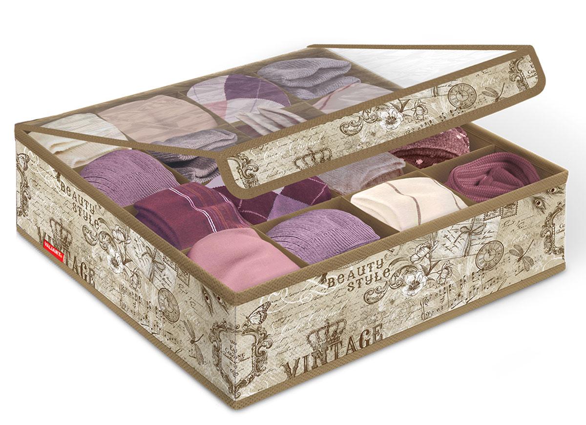 Органайзер для белья и носков Valiant Vintage, с крышкой, 16 секций, 32 x 32 x 12 см органайзер для хранения нижнего белья homsu bora bora 6 секций 35 x 35 x 10 см