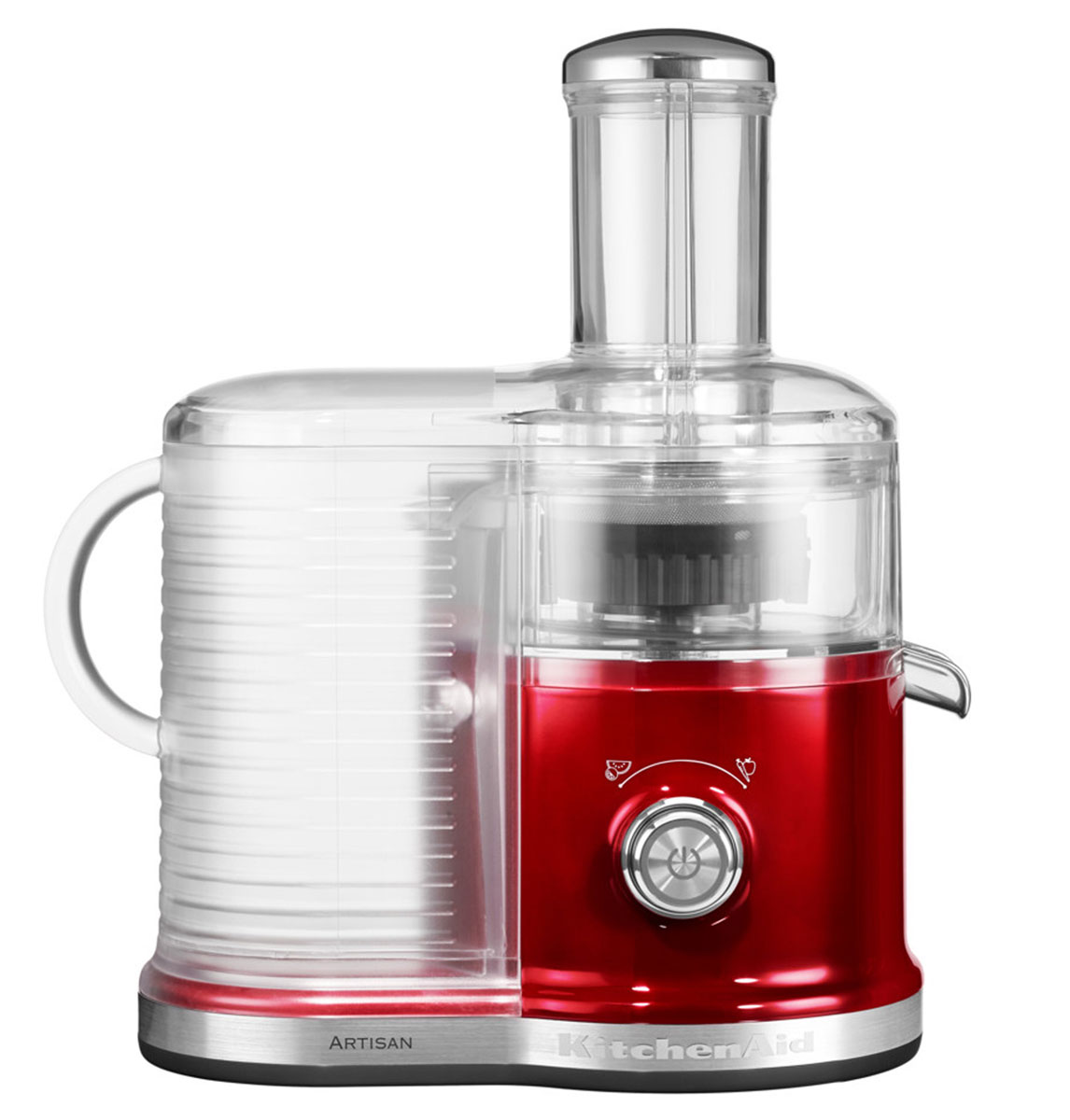 KitchenAid Artisan 5KVJ0333, Caramel Apple соковыжималка5KVJ0333ECAСкоростная центрифужная соковыжималка KitchenAid Artisan 5KVJ0333 имеет две скорости для мягких и твердых фруктов и овощей, что увеличивает объем получаемого сока, сокращая количество отходов.Экстра широкое жерло и толкатель подходит для фруктов и овощей разных размеров, сокращая время предварительной нарезки.Капля-стоп для контролирования вытекания сока.Контроль объема мякоти с помощью фильтра с 3-мя регулируемыми настройками позволяет регулировать объем мякоти в соке для приготовления однородных овощных соков или более густых фруктовых соков.