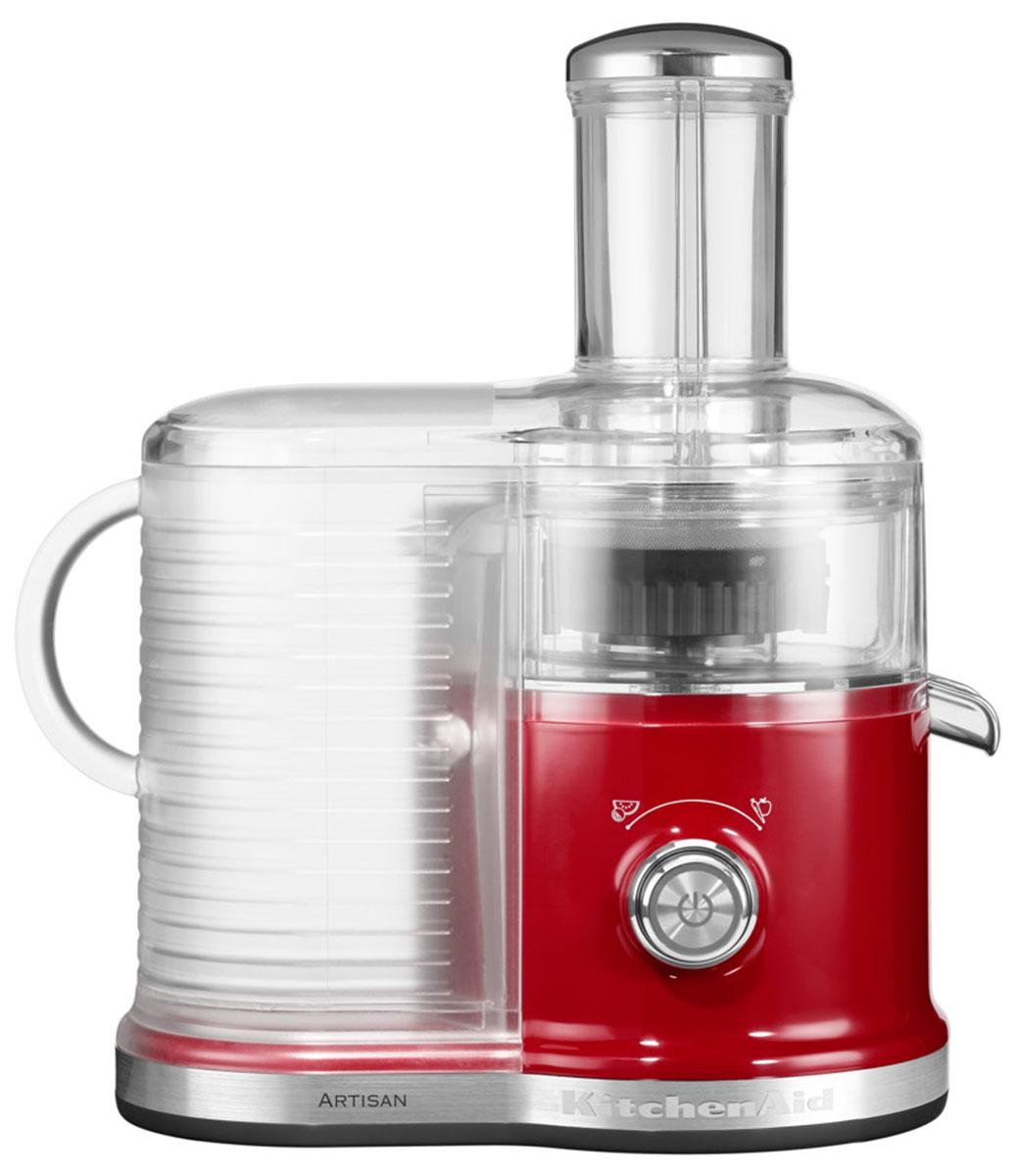 KitchenAid Artisan 5KVJ0333, Red соковыжималка5KVJ0333EERСкоростная центрифужная соковыжималка KitchenAid Artisan 5KVJ0333 имеет две скорости для мягких и твердых фруктов и овощей, что увеличивает объем получаемого сока, сокращая количество отходов.Экстра широкое жерло и толкатель подходит для фруктов и овощей разных размеров, сокращая время предварительной нарезки.Капля-стоп для контролирования вытекания сока.Контроль объема мякоти с помощью фильтра с 3-мя регулируемыми настройками позволяет регулировать объем мякоти в соке для приготовления однородных овощных соков или более густых фруктовых соков.