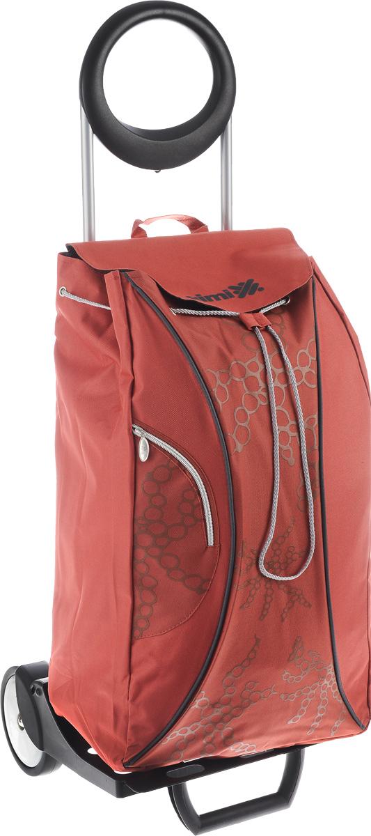 """Gimi """"Market"""" - это удобная сумка-тележка, которая пригодится каждой  хозяйке. Мобильность и простота изделия позволит вам без труда им  пользоваться. Ткань сумки водонепроницаема. Корпус сумки-тележки выполнен из стали. Пластмасса, используемая в  производстве тележки, имеет повышенную прочность. Сумка оснащена дополнительным наружным карманом на молнии. Удобная и  стильная сумка-тележка предназначена для перевоза любого  груза.  Теперь вам не придется нести тяжелые сумки в руках.  Эта сумка-тележка поможет вам без особого труда и в любую  погоду довезти ваши продукты в целости и сохранности.  Удобная подставка для вертикального положения сумки-тележки позволят вам оставлять ее без дополнительного  внимания. Максимальная нагрузка: 30 кг. Объем сумки: 48 л. Размер сумки (с учетом колес): 38 х 36 х 101 см."""