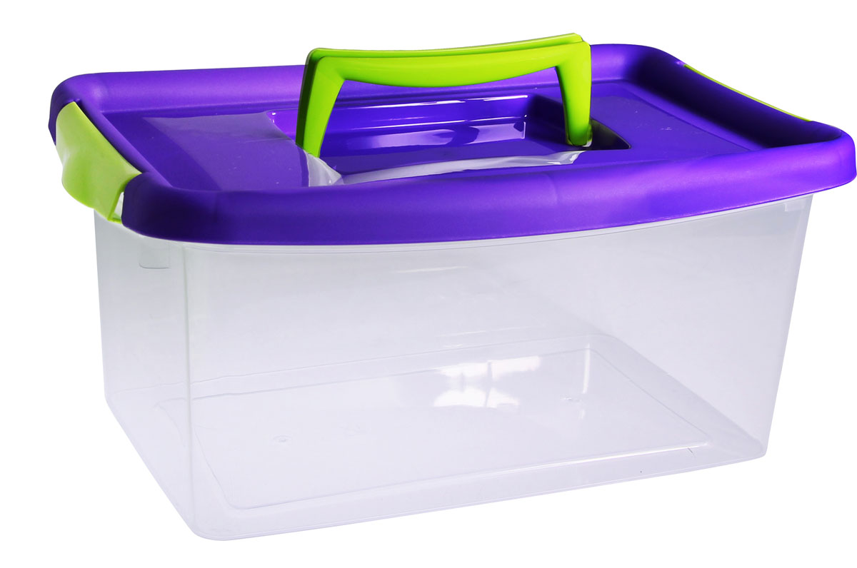 Контейнер для хранения Idea, цвет: прозрачный, фиолетовый, 4 л