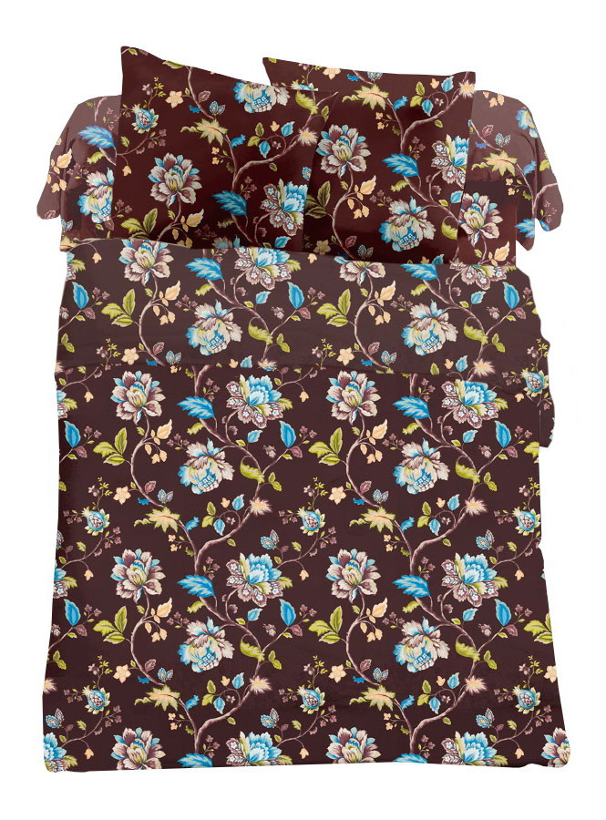 Комплект белья Cleo Шоколадный букет, 2-спальный, наволочки 70х70 комплект белья cleo аквамарин 1 5 спальный наволочки 70х70 цвет голубой