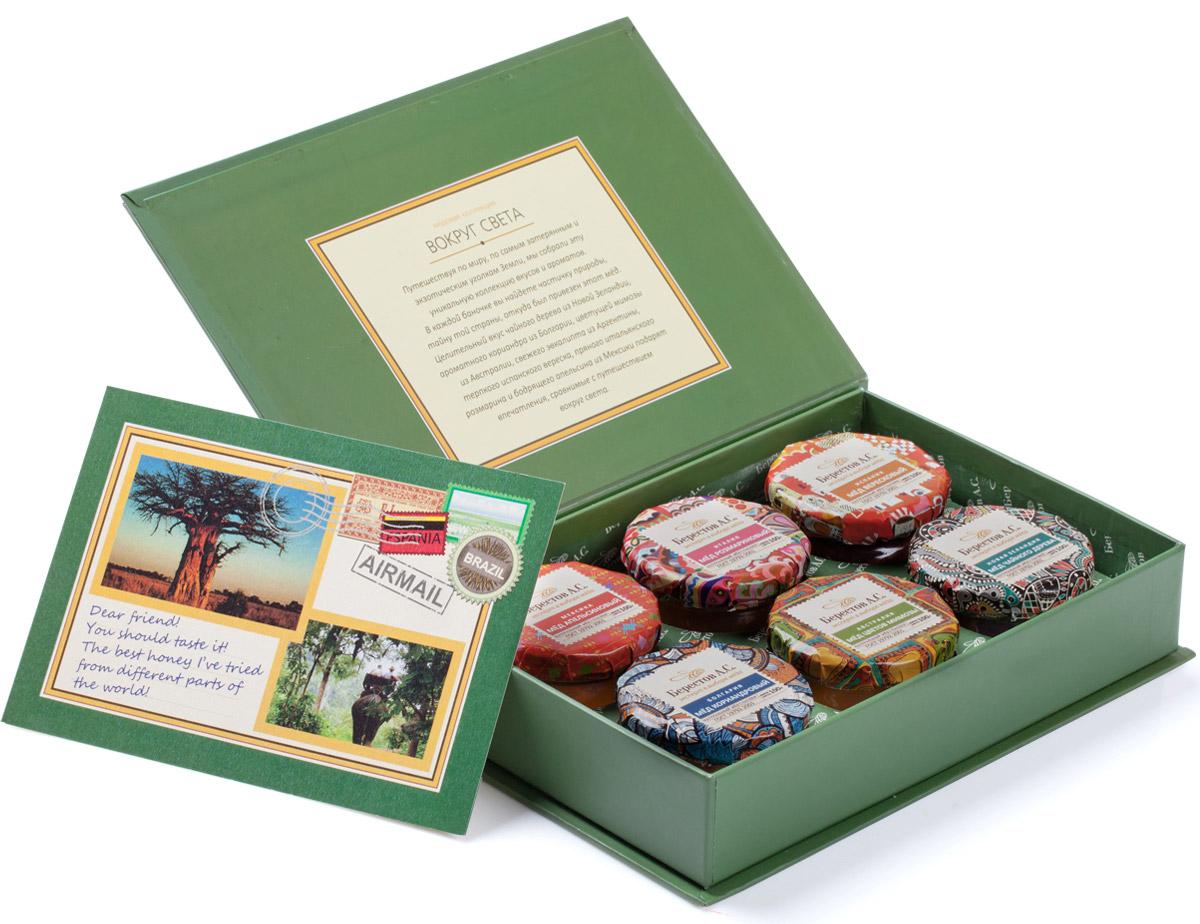 Берестов Мед подарочный набор Вокруг света, 6 х 100 г берестов мед коктейль с малиной 450 г