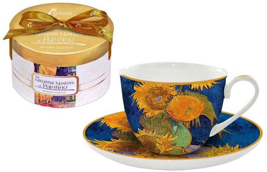 """Чайная пара Carmani """"Подсолнухи"""" состоит из чашки и блюдца, изготовленных из высококачественного костяного фарфора. Яркий дизайн изделий, несомненно, придется вам по вкусу.Чайная пара Carmani """"Подсолнухи"""" украсит ваш кухонный стол, а также станет замечательным подарком к любому празднику.Объем чашки: 250 мл."""