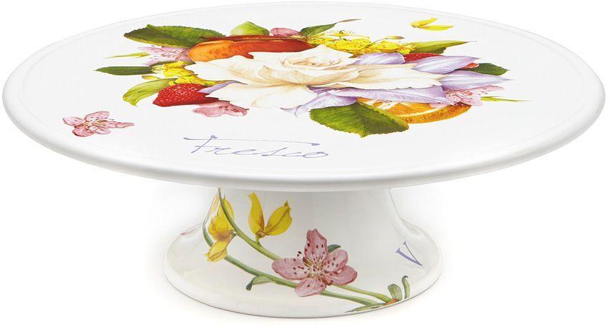 Блюдо Ceramiche Viva Фреско, для торта, 31 см. CV2-T02-18048-ALCV2-T02-18048-ALБлюдо для торта Ceramiche Viva Фреско- изделие итальянской фабрики Ceramiche Viva, которое известно не только своим превосходным качеством, но и удивительными, неповторимыми дизайнами, отличающими ее от любой другой керамической посуды. Невозможно относиться к изделиям Ceramiche Viva как к обычной посуде, приобретя блюдо для торт, вы украсите свой дом, доставите радость родным и близким, и ваш обычный ужин превратится в праздничный. Помимо внешней привлекательности блюдо для торта Ceramiche Viva Фреско обладает и прекрасными практическими свойствами: его можно мыть в посудомоечной машине и использовать в микроволновой печи. Не разрешается применять при мытье посуды абразивные порошки. Поверхность изделия покрыта высококачественной глазурью, не содержащей свинца.