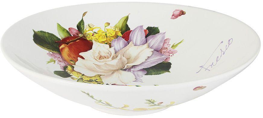 Салатник Ceramiche Viva Фреско, диаметр 35 смCV2-T03-06048-ALСалатник Ceramiche Viva Фреско изготовлен из высококачественной керамики, покрытой слоем сверкающей глазури. Изделие предназначено для подачи салатов, закусок, горячих блюд, гарниров. Такой салатник прекрасно дополнит сервировку стола и порадует вас оригинальным дизайном. Невозможно относиться к изделиям Ceramiche Viva как к обычной посуде. Приобретя любую вещь из ассортимента Ceramiche Viva, вы украсите свой дом, доставите радость родным и близким, и ваш обычный ужин превратится в праздничный.Помимо внешней привлекательности посуда Ceramiche Viva обладает и прекрасными практическими свойствами: посуду Ceramiche Viva можно мыть в посудомоечной машине и использовать в микроволновой печи. Не разрешается применять при мытье посуды абразивные порошки. Поверхность изделий покрыта высококачественной глазурью, не содержащей свинца.