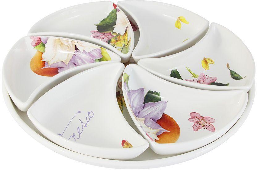 Набор для закуски (менажница) Ceramiche Viva Фреско: блюдо, 38 см, 6 блюд 17х12см. CV2-T05-00048-ALCV2-T05-00048-ALНабор для закуски: блюдо 38см+6 блюд 17х12см (менажница) ФрескоКерамическая посуда итальянской фабрики Ceramiche Viva известна не только своим превосходным качеством, но и удивительными, неповторимыми дизайнами, отличающими ее от любой другой керамической посуды. Невозможно относиться к изделиям Ceramiche Viva как к обычной посуде. Приобретя любую вещь из ассортимента Ceramiche Viva, вы украсите свой дом, доставите радость родным и близким, и ваш обычный ужин превратится в праздничный.Помимо внешней привлекательности посуда Ceramiche Viva обладает и прекрасными практическими свойствами: посуду Ceramiche Viva можно мыть в посудомоечной машине и использовать в микроволновой печи. Не разрешается применять при мытье посуды абразивные порошки. Поверхность изделий покрыта высококачественной глазурью, не содержащей свинца.