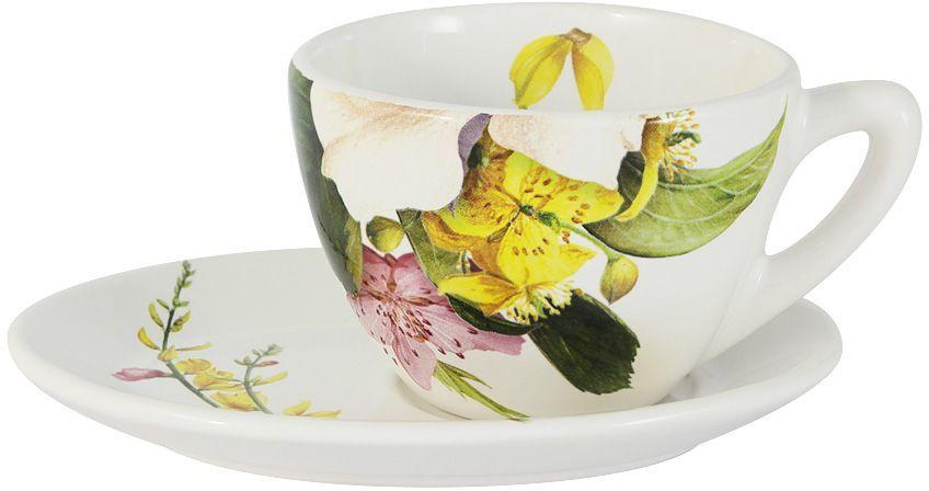 """Чайная пара Ceramiche Viva """"Фреско"""" состоит из чашки и блюдца, изготовленных из высококачественной глазурованной керамики. Яркий дизайн изделий, несомненно, придется вам по вкусу.Чайная пара Ceramiche Viva """"Фреско"""" украсит ваш кухонный стол, а также станет замечательным подарком к любому празднику.Объем чашки: 250 мл."""