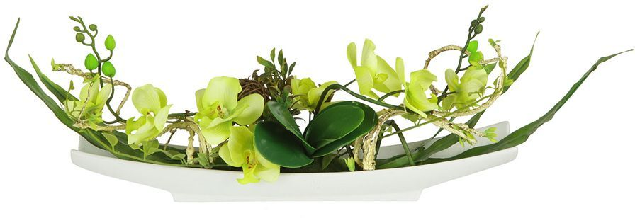 Декоративные цветы Dream Garden Орхидея желтая, на подставке, 56х11х25,5см. DG-15004-GR-ALDG-15004-GR-ALДекор.цветы Орхидея желтая на керам подставке 56х11х25.5смТорговая марка Dream Garden, Китай.Композиции из искусственных цветов долговечны, не требуют ежедневного ухода, выполнены из натуральных шелка и текстиля, прошедших специальную обработку высококачественными современными материалами. Искусственные цветы максимально приближены к натуральным, не пахнут, что исключает все аллергические реакции.
