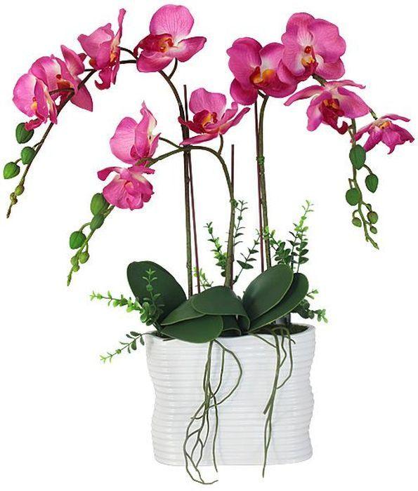 """Искусственные цветы Dream Garden """"Орхидея темно-розовая"""" максимально приближены к натуральным, не пахнут, что исключает все аллергические реакции. Композиции из искусственных цветов долговечны, не требуют ежедневного ухода, выполнены из натуральных шелка и текстиля, прошедших специальную обработку высококачественными современными материалами."""