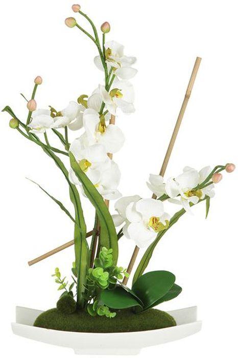 """Декор.цветы """"Орхидея белая"""" на керам подставке 34.5х13х56смТорговая марка """"Dream Garden"""", Китай.   Композиции из искусственных цветов долговечны, не требуют ежедневного ухода, выполнены из натуральных шелка и текстиля, прошедших специальную обработку высококачественными современными материалами. Искусственные цветы максимально приближены к натуральным, не пахнут, что исключает все аллергические реакции."""