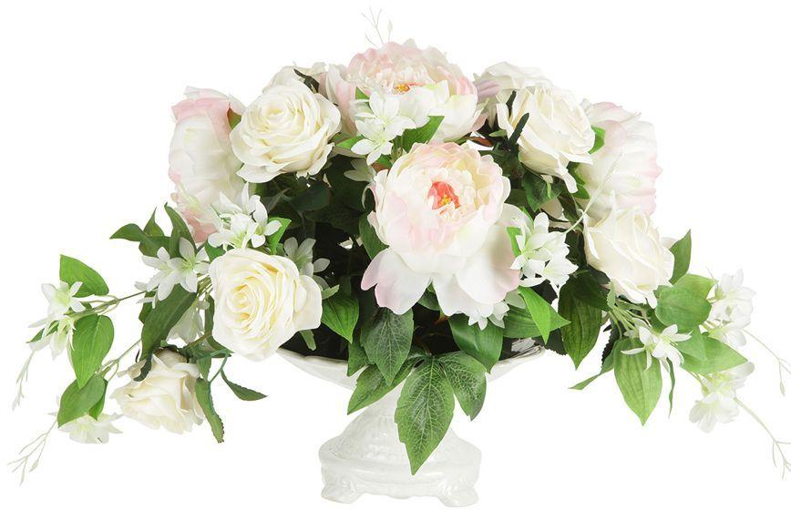 Декоративные цветы Dream Garden Розы и пионы, в вазе, 39х29х33см. DG-15146-ALDG-15146-ALДекор.цветы Розы и пионы в керам.вазе 39х29х33смТорговая марка Dream Garden, Китай.Композиции из искусственных цветов долговечны, не требуют ежедневного ухода, выполнены из натуральных шелка и текстиля, прошедших специальную обработку высококачественными современными материалами. Искусственные цветы максимально приближены к натуральным, не пахнут, что исключает все аллергические реакции.