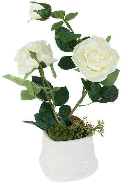 """Цветы декоративные Dream Garden """"Розы"""", в вазе, 27 х 14 х 37 см"""