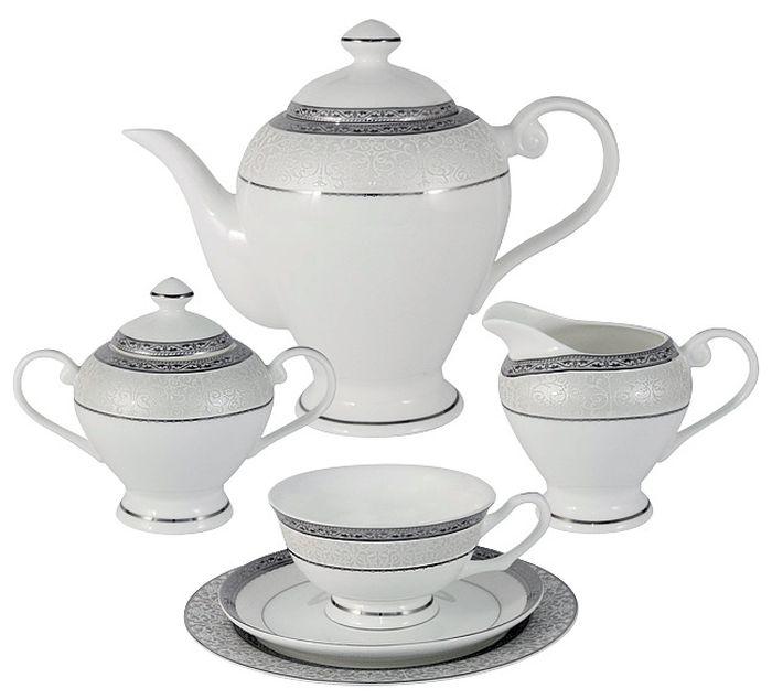 Чайный сервиз Emerald Бостон, 21 предмет, 6 персон. E5-16-908/21-ALE5-16-908/21-ALЧайный сервиз Бостон 21 предмет на 6 персон (6 чашек 0.2л , 6 блюдец, 6 тарелок 19см , чайник 1.2л , сахарница 0.35л , молочник 0.35л )Чайная и обеденная столовая посуда торговой марки Emerald произведена из высококачественного костяного фарфора. Благодаря высокому качеству исполнения, разнообразным декорам и оптимальному соотношению цена – качество, посуда Emerald завоевала огромную популярность у покупателей и пользуется неизменно высоким спросом.Изделия Emerald представлены как в виде обеденных и чайных сервизов на 6 и 12 персон.Поверхность изделий покрыта превосходной сверкающей глазурью, не содержащей свинца.